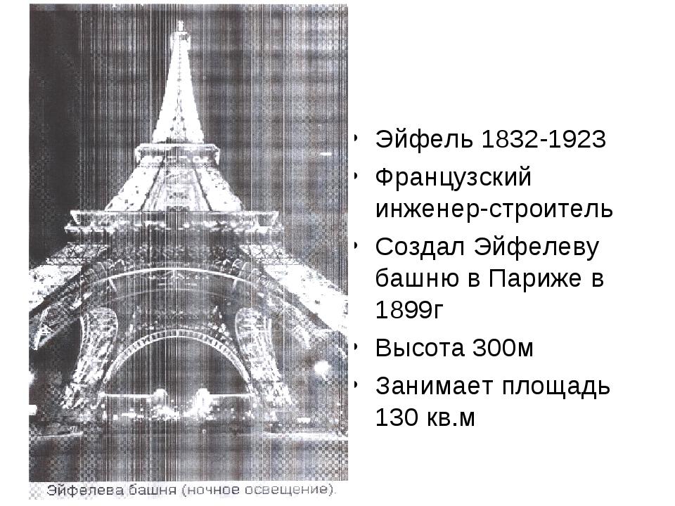 Эйфель 1832-1923 Французский инженер-строитель Создал Эйфелеву башню в Париже...