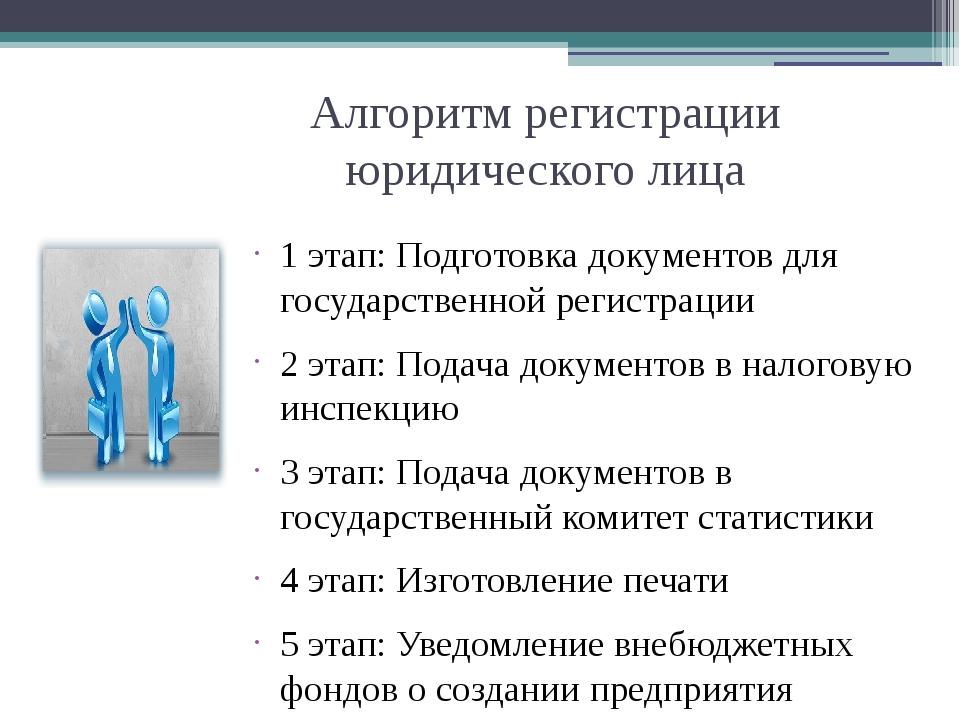 Алгоритм регистрации юридического лица 1 этап: Подготовка документов для госу...