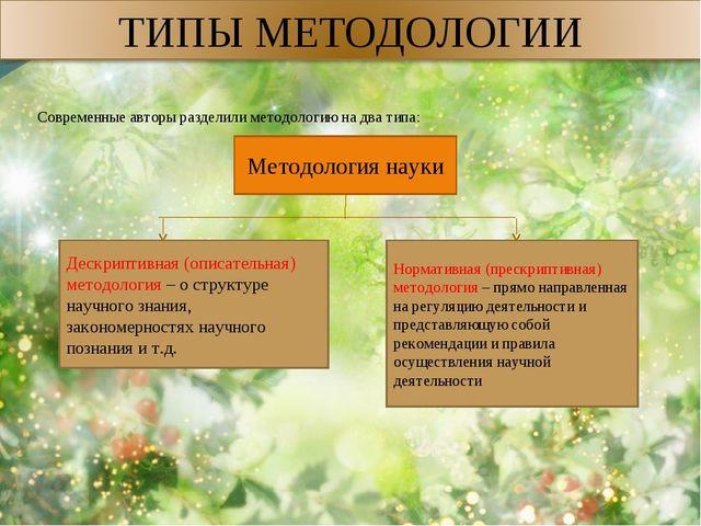Современные авторы разделили методологию на два типа: Методология науки Дескр...