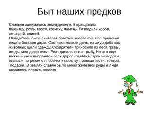Быт наших предков Славяне занимались земледелием. Выращивали пшеницу, рожь,