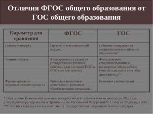 Отличия ФГОС общего образования от ГОС общего образования * Определены Концеп