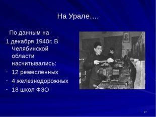 На Урале…. По данным на 1 декабря 1940г. В Челябинской области насчитывались: