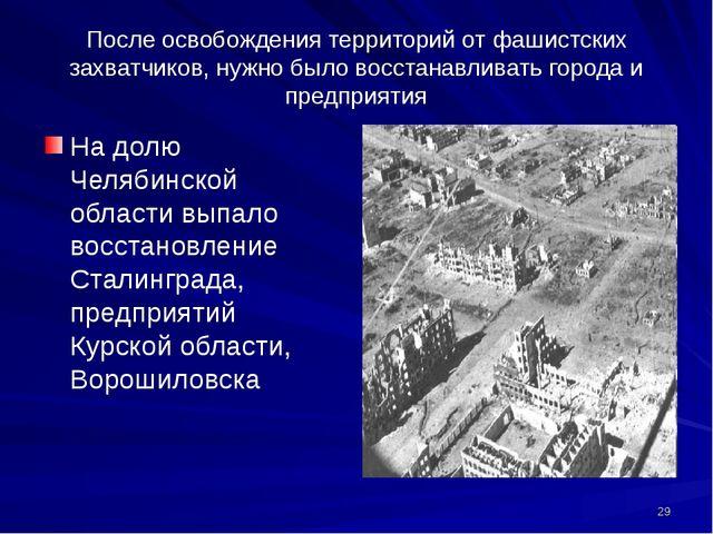 После освобождения территорий от фашистских захватчиков, нужно было восстанав...