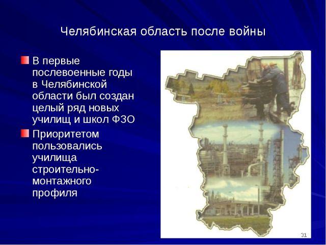 Челябинская область после войны В первые послевоенные годы в Челябинской обла...