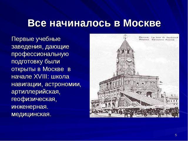 Все начиналось в Москве Первые учебные заведения, дающие профессиональную под...