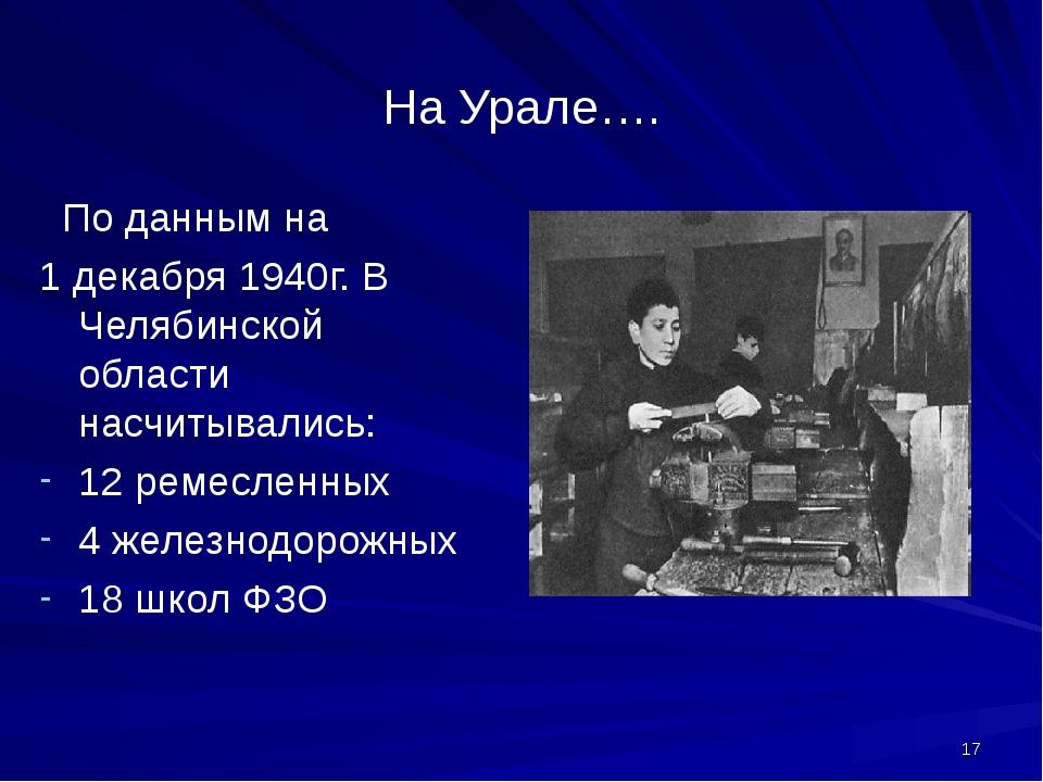 На Урале…. По данным на 1 декабря 1940г. В Челябинской области насчитывались:...