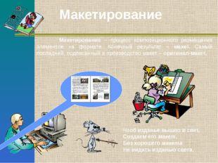 Макетирование – процесс композиционного размещения элементов на формате. Кон