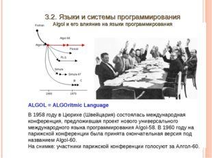 3.2. Языки и системы программирования Algol и его влияние на языки программир