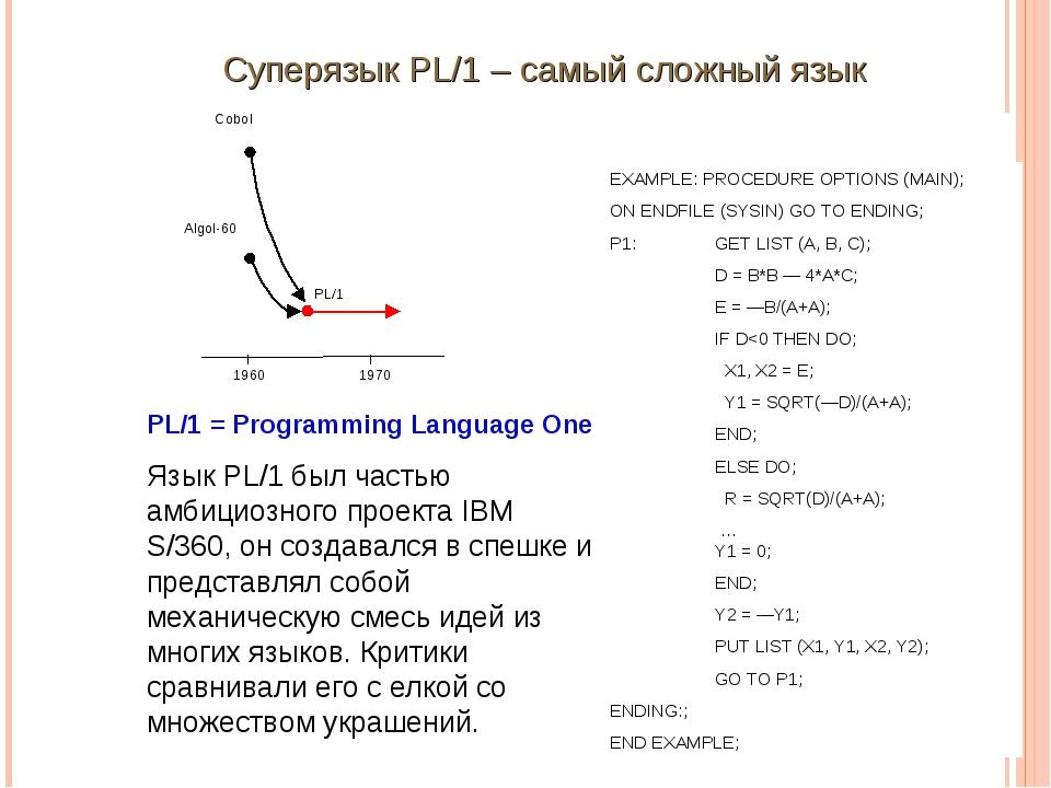 Суперязык PL/1 – самый сложный язык EXAMPLE: PROCEDURE OPTIONS (MAIN); ON END...