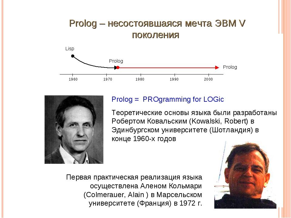 Prolog – несостоявшаяся мечта ЭВМ V поколения Prolog = PROgramming for LOGic...