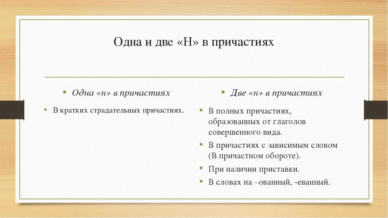 Одна и две «Н» в причастиях Одна «н» в причастиях В кратких страдательных при...
