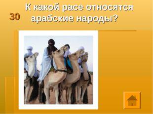 30 К какой расе относятся арабские народы?