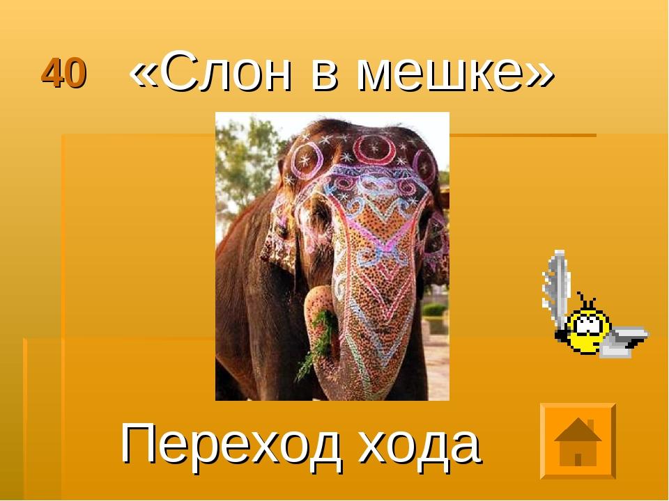 40 «Слон в мешке» Переход хода