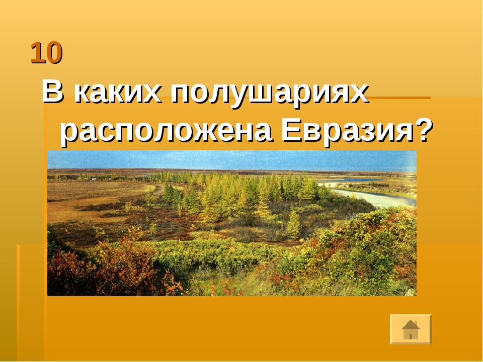 10 В каких полушариях расположена Евразия?