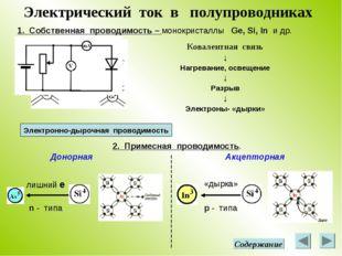 Электрический ток в полупроводниках 1. Собственная проводимость – монокристал
