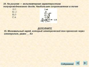 14. На рисунке — вольтамперная характеристика полупроводникового диода. Наибо