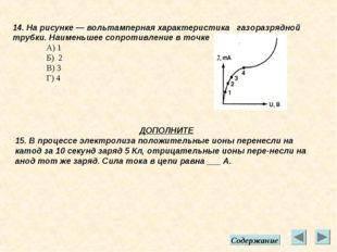 14. На рисунке — вольтамперная характеристика газоразрядной трубки. Наименьше