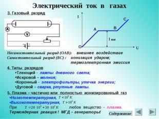 Электрический ток в газах 3. Газовый разряд U I А В С I нас Несамостоятельный
