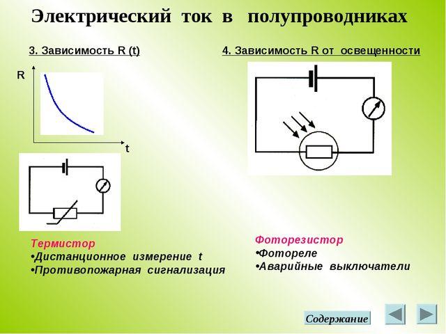 Электрический ток в полупроводниках 3. Зависимость R (t) R t 4. Зависимость R...