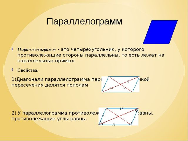 Параллелограмм - это четырехугольник, у которого противолежащие стороны парал...