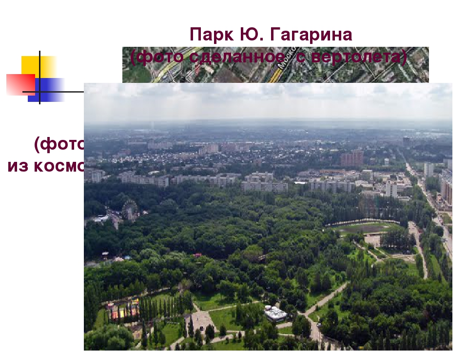 (фото из космоса) Парк Ю. Гагарина (фото сделанное с вертолета)
