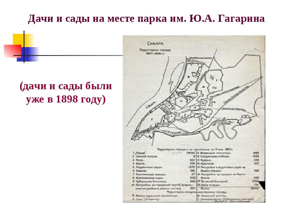 (дачи и сады были уже в 1898 году) Дачи и сады на месте парка им. Ю.А. Гагар...