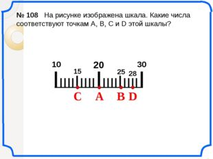 IIIIIIIIIIIIIIIIIIIII 20 10 № 108 На рисунке изображена шкала. Какие числа с