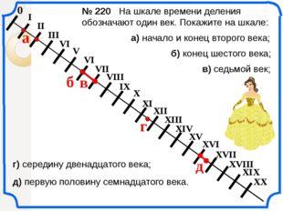 0 № 220 На шкале времени деления обозначают один век. Покажите на шкале: а) н