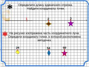 Определите длину единичного отрезка. Найдите координаты точек. 3 2 24 54 * 6