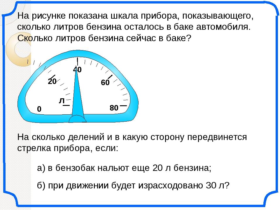0 20 60 На рисунке показана шкала прибора, показывающего, сколько литров бен...