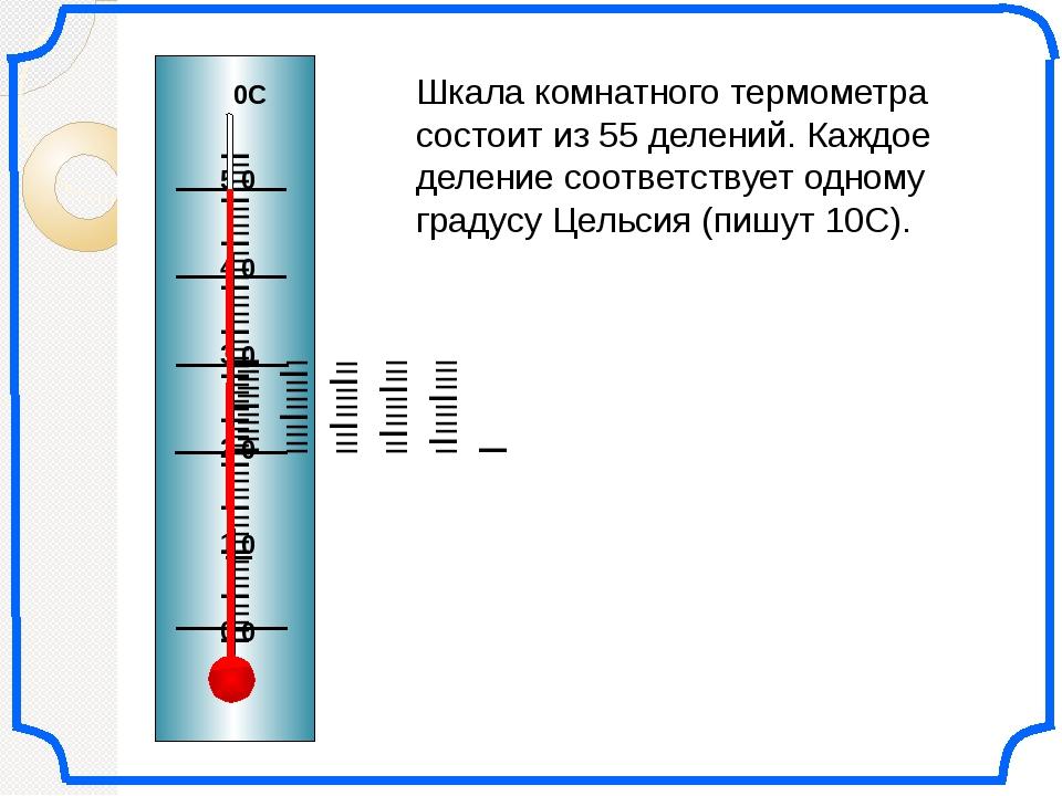 Шкала комнатного термометра состоит из 55 делений. Каждое деление соответств...