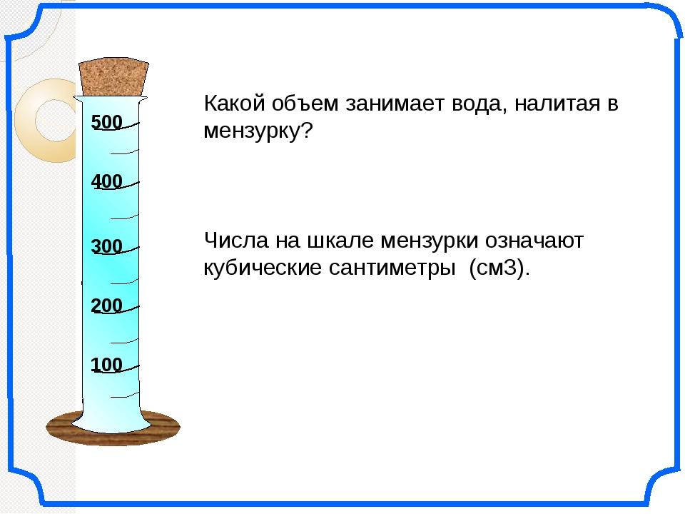 Какой объем занимает вода, налитая в мензурку? Числа на шкале мензурки означ...