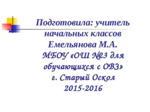 Подготовила: учитель начальных классов Емельянова М.А. МБОУ «ОШ №23 для обуча