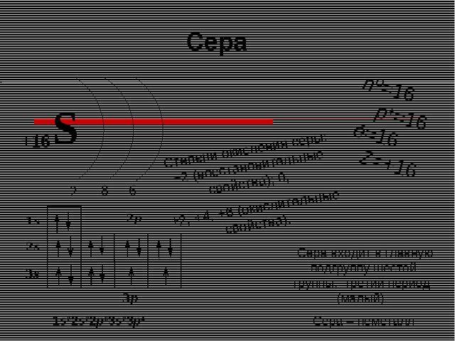 nº=16 p+=16 ē=16 Z=+16 Степени окисления серы: −2 (восстановительные свойств...