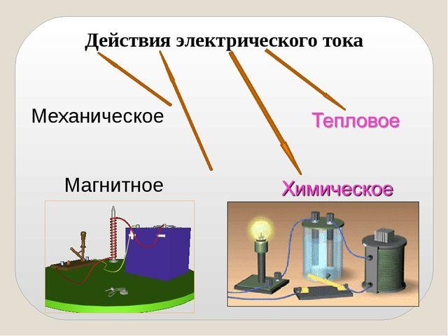 Действия электрического тока Механическое Магнитное