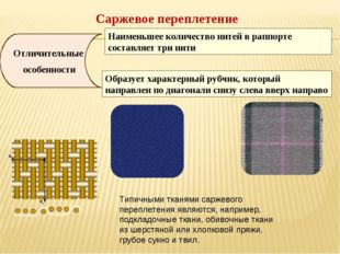 Саржевое переплетение Отличительные особенности Наименьшее количество нитей в