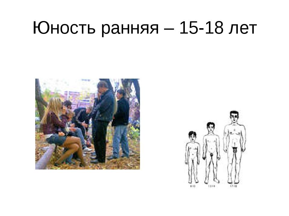 Юность ранняя – 15-18 лет