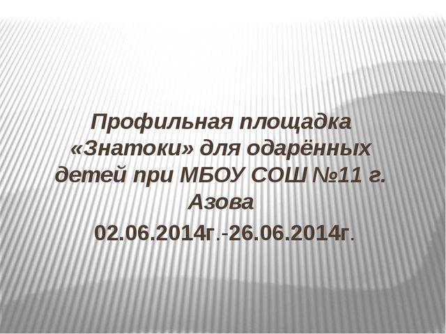 Профильная площадка «Знатоки» для одарённых детей при МБОУ СОШ №11 г. Азова 0...