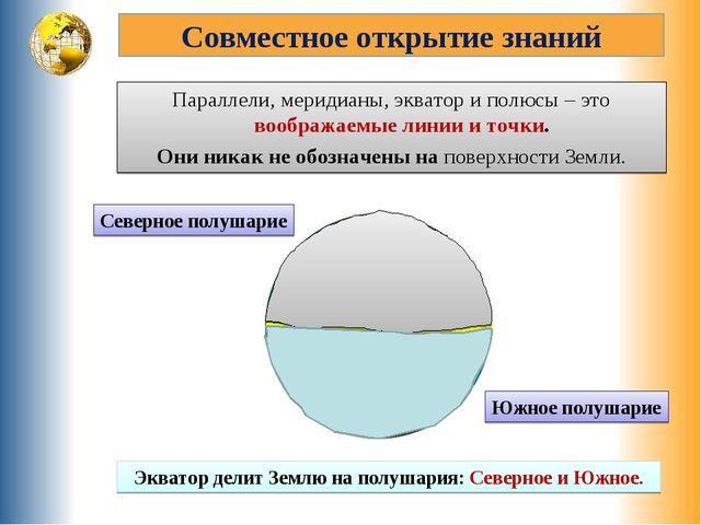 Совместное открытие знаний Параллели, меридианы, экватор и полюсы – это вообр...