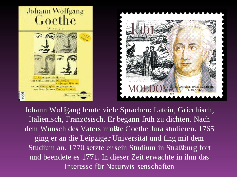Johann Wolfgang lernte viele Sprachen: Latein, Griechisch, Italienisch, Franz...
