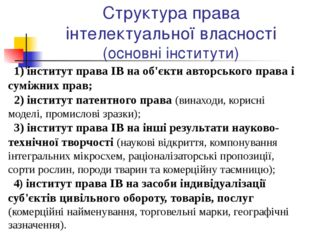 Структура права інтелектуальної власності (основні інститути) інститут права