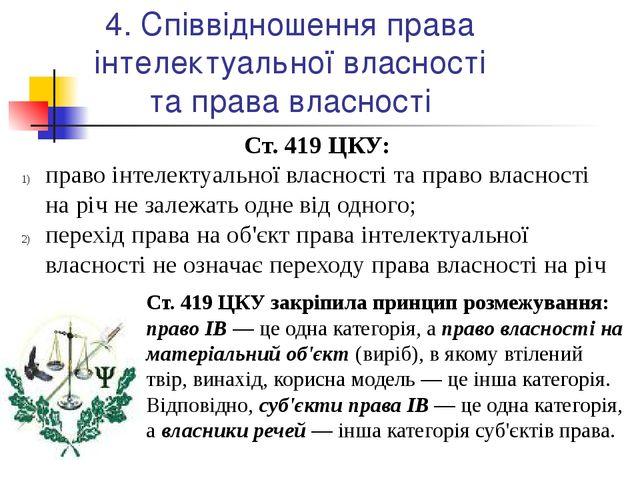 4. Співвідношення права інтелектуальної власності та права власності Ст. 419...