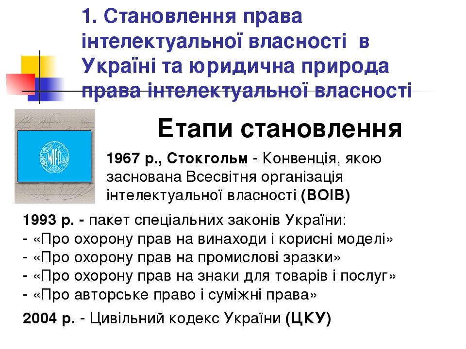 1. Становлення права інтелектуальної власності в Україні та юридична природа...