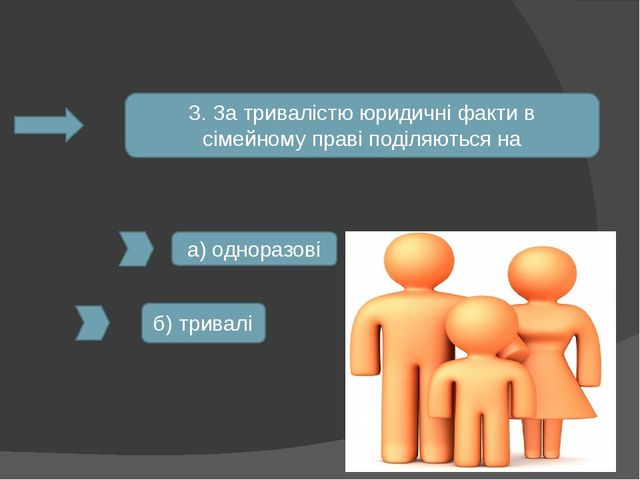 3. За тривалістю юридичні факти в сімейному праві поділяються на а) одноразов...