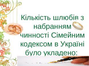 Кількість шлюбів з набранням чинності Сімейним кодексом в Україні було укладе