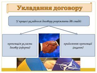 У процесі укладення договору розрiзняють двi стадiї: пропозицiя укласти догов