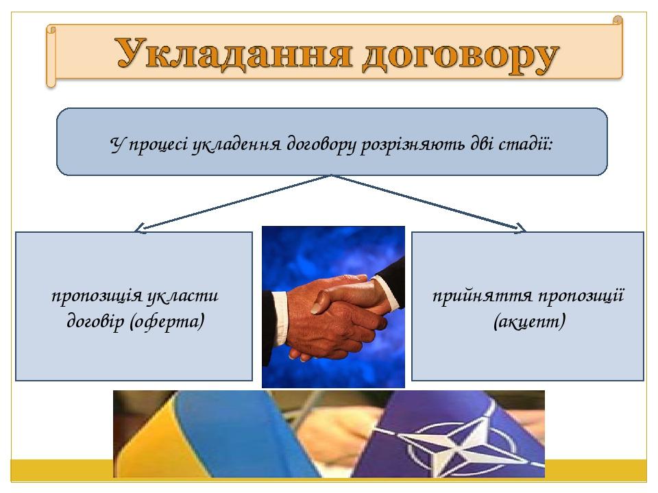 У процесі укладення договору розрiзняють двi стадiї: пропозицiя укласти догов...
