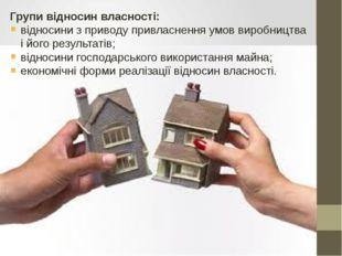 Групи відносин власності: відносини з приводу привласнення умов виробництва і