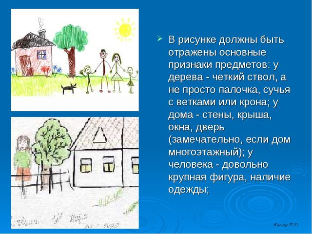 В рисунке должны быть отражены основные признаки предметов: у дерева - четкий...