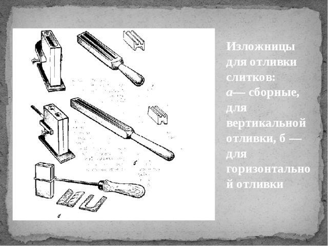 Изложницы для отливки слитков: а— сборные, для вертикальной отливки, б — для...